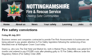 Fire safety convictions